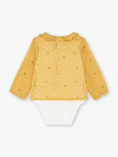 Body blouse manches longues jaune en popeline ZADINA / 21E1BF91BODB114