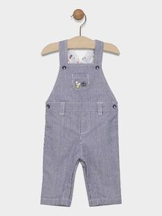 Baby boys' blue and white striped dungarees SAFULBERT / 19H1BG41SALC214