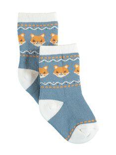 Chaussettes bleues renards VALOU / 20H4BGR1SOQ216