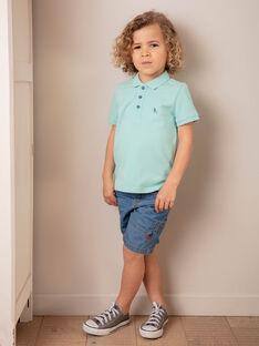 Polo uni turquoise enfant garçon ZYPOLAGE4 / 21E3PGW2POLC215