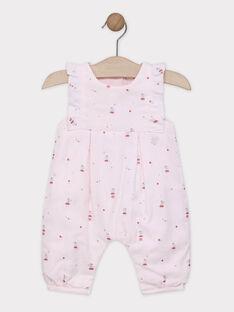 Salopette rose pâle imprimé à volants bébé fille SYALICIA / 19H0CF11SAL301
