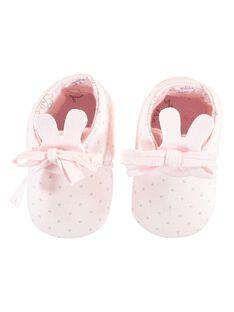 Chaussons en tubique rose pâle bébé fille TYFOLI / 20E0AFF1CHP301