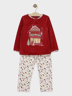 Pyjama rouge en velours et bas en chaîne et trame petite fille  SOLALETTE / 19H5PFQ2PYJ511