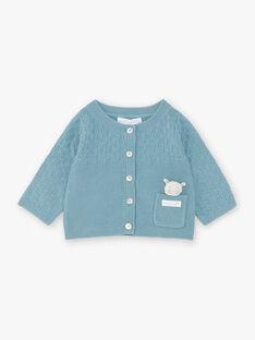 Cardigan bleu canard en tricot bébé garçon ZOWEN / 21E0CGY1GIL714