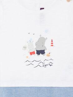 Combinaison courte bimatière blanche et bleue bébé garçon ZAOUEST / 21E1BGT1CBL000