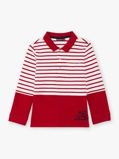 Polo rouge à rayures enfant garçon BACLOAGE / 21H3PG11POL001