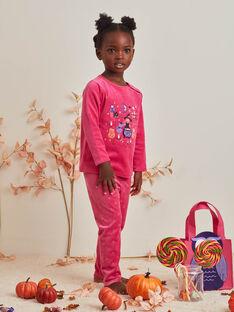Ensemble pyjama rose phosphorescent motif Halloween et sac assorti enfant fille BEBOUETTE / 21H5PFH1PYJD331