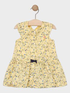 Robe jaune fleurie bébé fille  TAOSTINE / 20E1BFO1ROB103