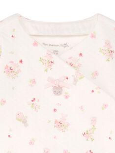 Veste blanche et rose imprimé fleuri et legging rose naissance fille BONNIE / 21H0NF41ENS301