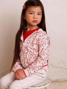 Veste de jogging écru chiné à imprimé fleuri enfant fille ZLUDETTE 2 / 21E2PFK1JGHA011
