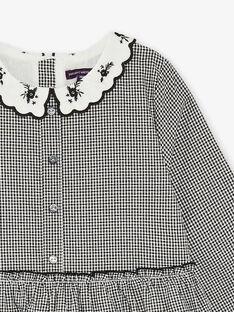 Robe à carreaux vichy noir et blanc et col claudine avec broderie  ZEVYCHETTE / 21E2PF91ROB090