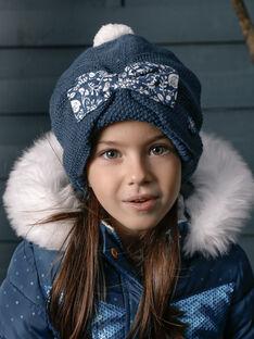 Bonnet en tricot bleu canard VEGRAETTE / 20H4PFE1BONC235