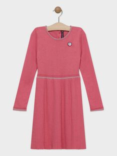 Robe rose tricot plissé fille SYPANETTE / 19H2PFE1ROB307