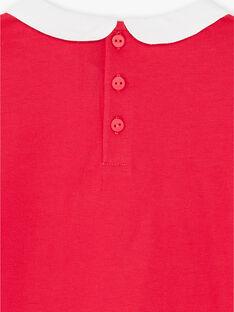 T-shirt fuchsia manches longues et col claudine enfant fille ZLIMETTE3 / 21E2PFK4TML304