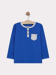 Tee-shirt manches longues bleu électrique en jersey texturé garçon SAMIXAGE 1 / 19H3PG91TML217