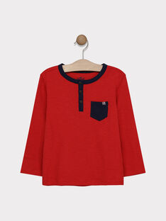 Tee-shirt manches longues rouge en jersey texturé garçon SAMIXAGE 2 / 19H3PG96TML050