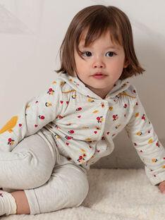 Veste de jogging beige chiné imprimé fleuri bébé fille BAELISA / 21H1BF51JGHA011