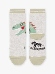 Chaussettes gris chiné motif dinosaure enfant garçon BASOCAGE / 21H4PG21SOQ943