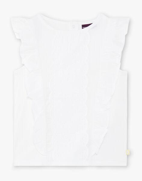 T-shirt blanc bimatière, devant en broderie anglaise ZITIZETTE / 21E2PFO2TMC000