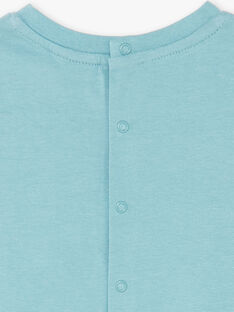 Tee-shirt manches courtes vert de gris à rayures ZAIBEY / 21E1BGI2TMC629
