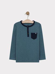 Tee-shirt manches longues vert en jersey texturé garçon SAMIXAGE 4 / 19H3PG98TML213