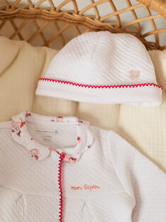 Dors-bien blanc et bonnet bébé fille ZOLOUANE B / 21E0NFY1GRE000