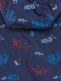 Coupe vent bleu à capuche imprimé marin ZUZOAGE / 21E3PGM1CPVC214