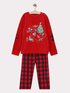Pyjama en velours rouge et bas en chaîne et trame petit garçon  SOCADAGE / 19H5PGQ3PYJ511