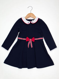 Robe manches longues en maille marine fille TEVETTE / 20E2PFC2ROB070