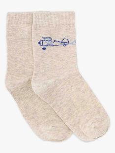 Chaussettes hautes beiges petit garçon  TIBAGE / 20E4PGJ1SOQA013