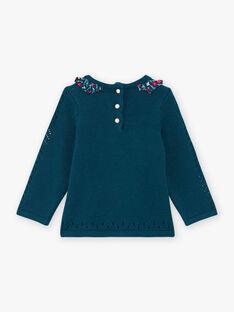 Pull bleu à motif lapin et détails imprimé fleuri bébé fille BAGAELLE / 21H1BF91PUL714
