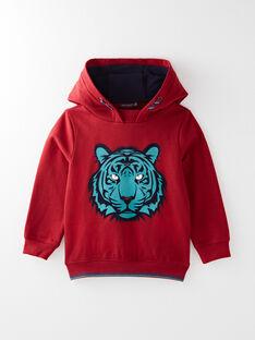 Sweat shirt rouge animation tigre  VYSWETAGE-1 / 20H3PGG1SWEF527