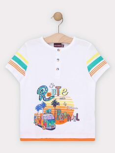 Tee-shirt manches courtes blanc garçon  TEDOUAGE / 20E3PGG3TMC000