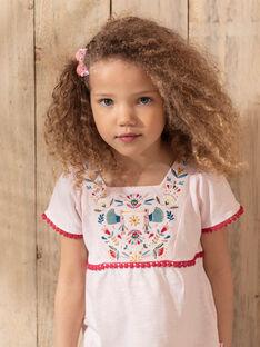 T-Shirt rose pâle brodé fille  TIUVETTE / 20E2PFQ1TMCD317