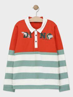 Polo orange et vert en jersey gratté garçon TABUAGE / 20E3PGB2POL403