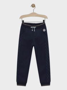 Pantalon gris en molleton doublé fausse fourrure garçon SIJIRAGE / 19H3PGN1PAN713