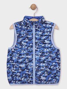 Doudoune sans manche bleu imprimée garçon vendue dans un pochon  TUAMAGE / 20E3PGT1GTV705