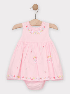 Robe rose brodée bébé fille  TALOISE / 20E1BFJ1CHS321
