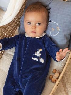 Grenouillère manches longues bleu marine et bonnet naissance garçon BOSCO B / 21H0NG42GRE070