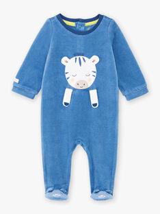 Grenouillère bleue animation zèbre bébé garçon BEALVIN / 21H5BG64GRE208