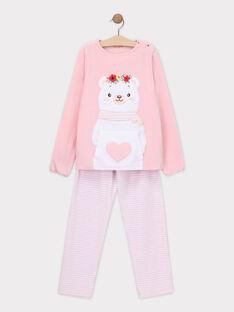 Pyjama en velours rose petite fille SYMANETTE / 19H5PFK6PYJ307