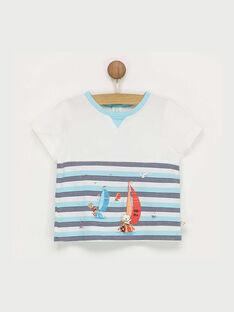 Tee shirt manches courtes blanc à motifs RAGABRIEL / 19E1BGD1TMC001