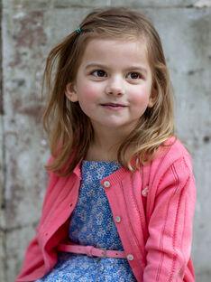 Cardigan rose en maille ajourée enfant fille ZUCAYETTE / 21E2PFT1CARD313