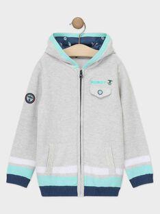 Gilet à capuche en tricot maille bleu gris clair garçon  TISOTAGE / 20E3PGP1GILJ920