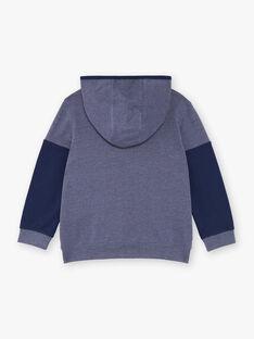 Veste de jogging bleu chiné à détails contrastés enfant garçon ZEDIRAGE2 / 21E3PGK4JGH222