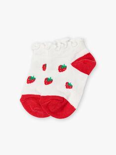 Chaussettes basses écrues motifs fraises ZAAFIDA / 21E4BFJ1SOB001