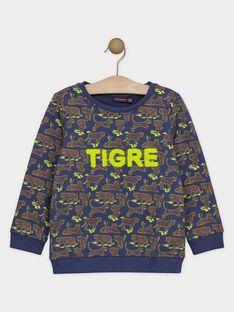 Sweat bleu ardoise imprimé tigre garçon SAVANAGE / 19H3PG61SWEC203