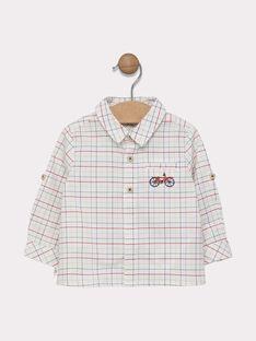 Chemise à carreaux bébé garçon fond écru et carreaux rouge orangé, vert kaki et bleu marine SADUSTIN / 19H1BG31CHM000