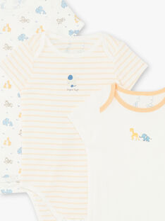 Lot de 3 bodies manches courtes bébé garçon en coton bio ZEDOME / 21E5BG32BDL001