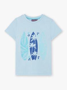 T-shirt bleu ciel imprimé surf  ZUZAGE4 / 21E3PGL4TMC020